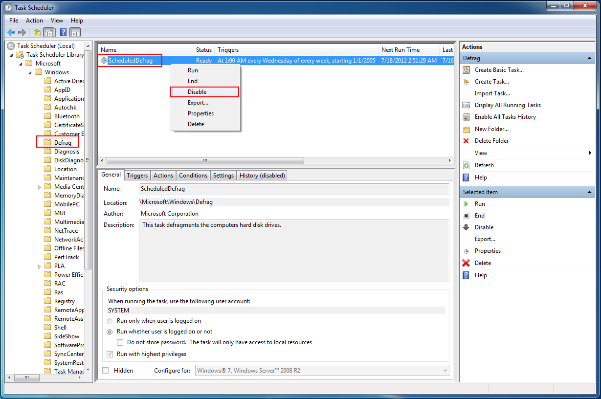 Disabling Windows defrag scheduled task | CyberSecure Support